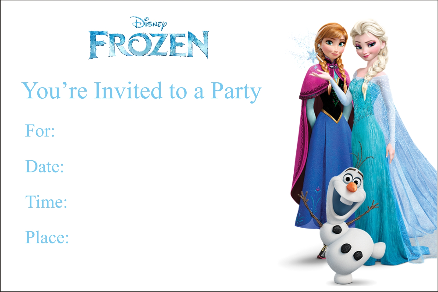 Frozen Free printable Birthday Party Invitation Personalized Party – Party Invitations Frozen