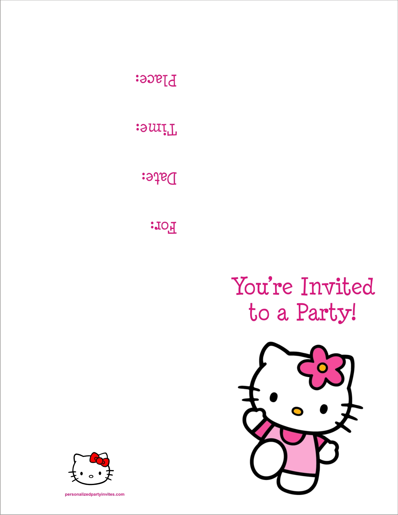 Hello Kitty FREE Printable Birthday Party Invitation Personalized – Party Invites Templates Free to Print