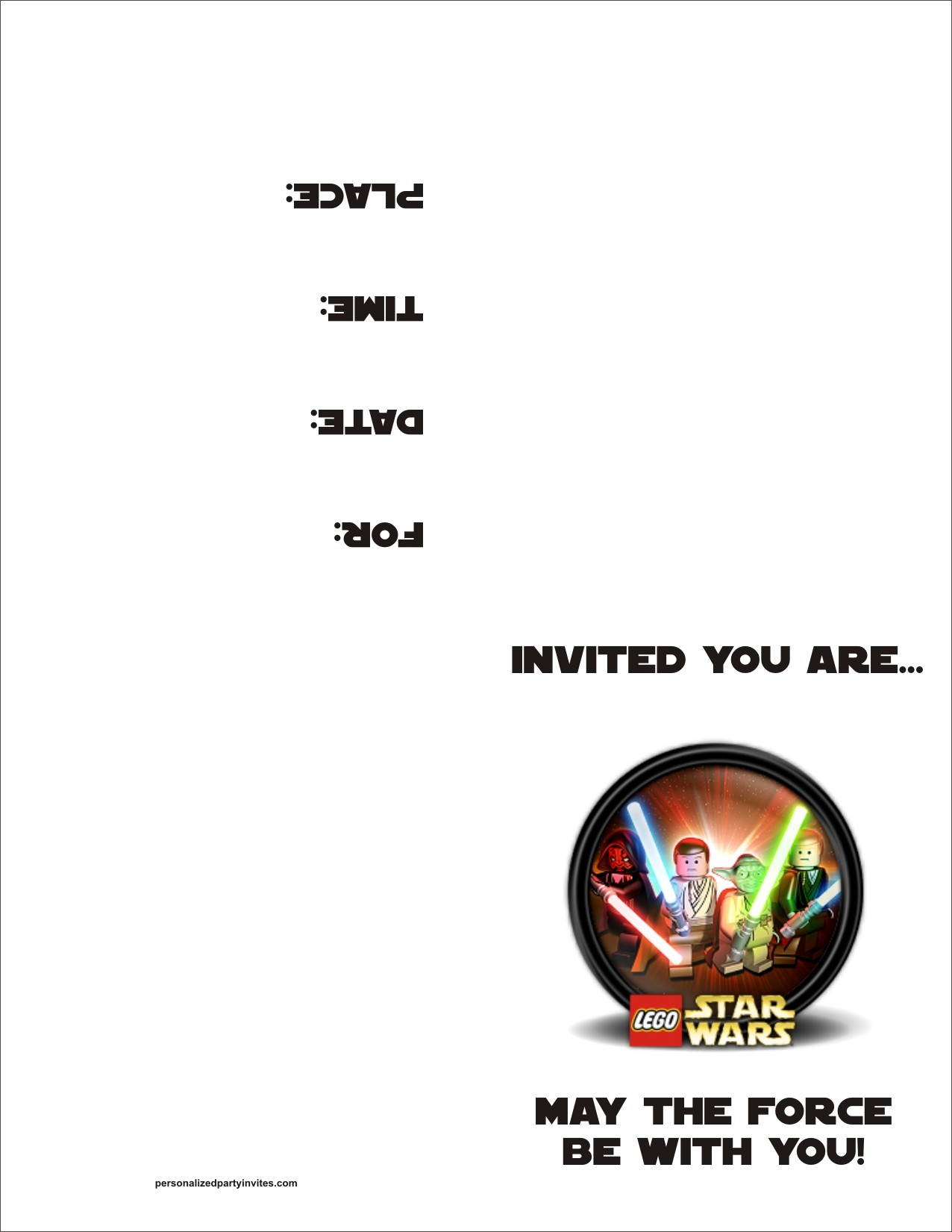 Lego Star Wars FREE Printable Birthday Party Invitation Personalized ...