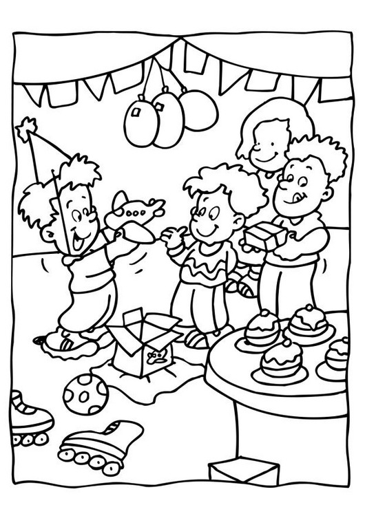 Birthday Party Coloring Book Coloring Pages - Birthday-party-coloring-pages